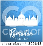 Clipart Of A Ramadan Kareem Background With A Silhouetted Mosque Over Blue Royalty Free Vector Illustration