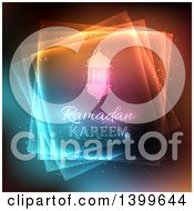 Clipart Of A Ramadan Kareem Background With A Lanterns And Lights Royalty Free Vector Illustration