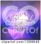 Clipart Of A Ramadan Kareem Background With A Silhouetted Mosque Over A Purple Geometric Pattern Royalty Free Vector Illustration