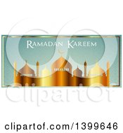 Clipart Of A Ramadan Kareem Background With A Gradient Gold Silhouetted Mosque On Green Royalty Free Vector Illustration