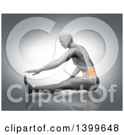 3d Anatomical Man Stretching On The Floor Reaching For His Toes With Visible Spine And Glowing Pain On Gray