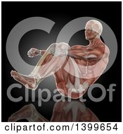 Clipart Of A 3d Anatomical Male Bodybuilder In A Sit Up Position With Visible Muscles On Black Royalty Free Illustration