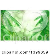 Clipart Of A Background Of 3d Palm Branches And Sun Flares Royalty Free Illustration