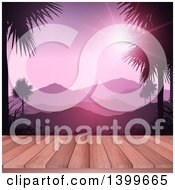 Clipart Of A 3d Wood Deck With A View Of Mountains And Palm Trees Royalty Free Vector Illustration