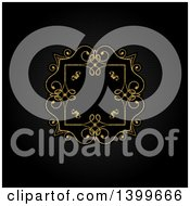 Clipart Of A Vintage Ornate Golden Frame On Black Royalty Free Vector Illustration by KJ Pargeter