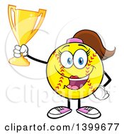 Clipart Of A Cartoon Female Softball Character Mascot Holding A Trophy Royalty Free Vector Illustration