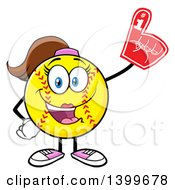 Clipart Of A Cartoon Female Softball Character Mascot Wearing A Foam Finger Royalty Free Vector Illustration