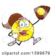 Clipart Of A Cartoon Female Softball Character Mascot Running With A Ball In A Glove Royalty Free Vector Illustration by Hit Toon