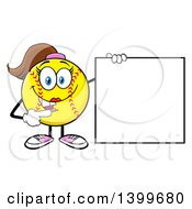 Clipart Of A Cartoon Female Softball Character Mascot Pointing To A Blank Sign Royalty Free Vector Illustration by Hit Toon