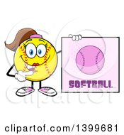Clipart Of A Cartoon Female Softball Character Mascot Pointing To A Sign Royalty Free Vector Illustration by Hit Toon
