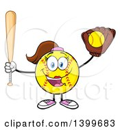 Clipart Of A Cartoon Female Softball Character Mascot Holding A Bat And Ball In A Glove Royalty Free Vector Illustration