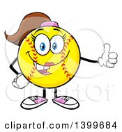 Clipart Of A Cartoon Female Softball Character Mascot Giving A Thumb Up Royalty Free Vector Illustration by Hit Toon