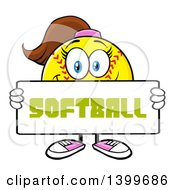Clipart Of A Cartoon Female Softball Character Mascot Holding A Sign Royalty Free Vector Illustration by Hit Toon