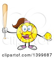 Clipart Of A Cartoon Female Softball Character Mascot Holding A Bat And Ball Royalty Free Vector Illustration by Hit Toon