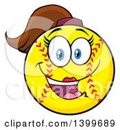 Clipart Of A Cartoon Female Softball Character Mascot Royalty Free Vector Illustration