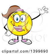 Clipart Of A Cartoon Female Softball Character Mascot Waving Royalty Free Vector Illustration by Hit Toon