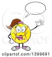 Clipart Of A Cartoon Female Softball Character Mascot Talking And Waving Royalty Free Vector Illustration by Hit Toon