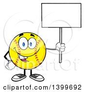 Clipart Of A Cartoon Male Softball Character Mascot Holding Up A Blank Sign Royalty Free Vector Illustration