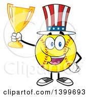 Clipart Of A Cartoon Male Softball Character Mascot Wearing A Patriotic American Hat And Holding A Trophy Royalty Free Vector Illustration