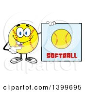 Clipart Of A Cartoon Male Softball Character Mascot Pointing To A Sign Royalty Free Vector Illustration