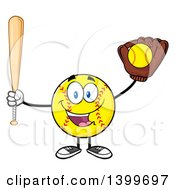 Clipart Of A Cartoon Male Softball Character Mascot Holding A Bat And Ball In A Glove Royalty Free Vector Illustration