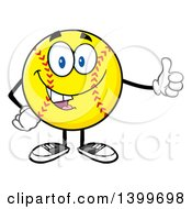 Clipart Of A Cartoon Male Softball Character Mascot Giving A Thumb Up Royalty Free Vector Illustration
