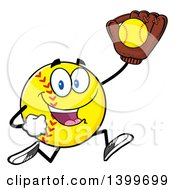 Clipart Of A Cartoon Male Softball Character Mascot Running With A Ball In A Glove Royalty Free Vector Illustration by Hit Toon