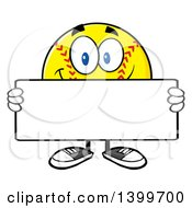 Clipart Of A Cartoon Male Softball Character Mascot Holding A Blank Sign Royalty Free Vector Illustration