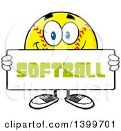 Clipart Of A Cartoon Male Softball Character Mascot Holding A Sign Royalty Free Vector Illustration