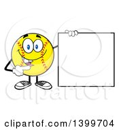 Clipart Of A Cartoon Male Softball Character Mascot Pointing To A Blank Sign Royalty Free Vector Illustration by Hit Toon