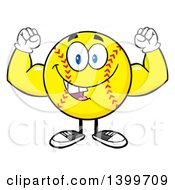 Clipart Of A Cartoon Male Softball Character Mascot Flexing His Muscles Royalty Free Vector Illustration by Hit Toon
