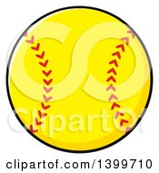 Clipart Of A Cartoon Yellow Softball Royalty Free Vector Illustration