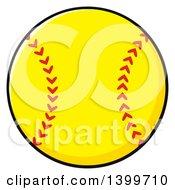 Clipart Of A Cartoon Yellow Softball Royalty Free Vector Illustration