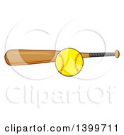 Clipart Of A Cartoon Softball And Wooden Bat Royalty Free Vector Illustration