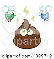 Cartoon Pile Of Poop Character And Happy Flies