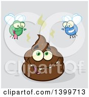 Clipart Of A Cartoon Pile Of Poop Character And Happy Flies On Gray Royalty Free Vector Illustration by Hit Toon