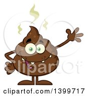 Clipart Of A Cartoon Pile Of Poop Character Waving Royalty Free Vector Illustration
