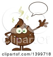Clipart Of A Cartoon Pile Of Poop Character Talking And Waving Royalty Free Vector Illustration