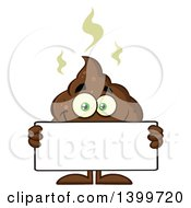 Clipart Of A Cartoon Pile Of Poop Character Holding A Blank Sign Royalty Free Vector Illustration by Hit Toon
