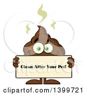 Clipart Of A Cartoon Pile Of Poop Character Holding A Clean After Your Pet Sign Royalty Free Vector Illustration