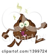 Clipart Of A Cartoon Pile Of Poop Character Running Royalty Free Vector Illustration by Hit Toon