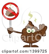 Clipart Of A Cartoon Pile Of Poop Character Holding A Prohibited Sign Royalty Free Vector Illustration by Hit Toon