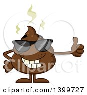 Clipart Of A Cartoon Pile Of Poop Character Wearing Sunglasses And Giving A Thumb Up Royalty Free Vector Illustration