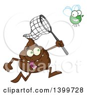 Clipart Of A Cartoon Pile Of Poop Character Chasing A Fly With A Net Royalty Free Vector Illustration by Hit Toon