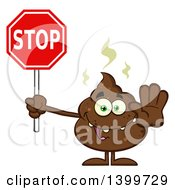 Clipart Of A Cartoon Pile Of Poop Character Holding A Stop Sign Royalty Free Vector Illustration