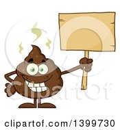 Clipart Of A Cartoon Pile Of Poop Character Holding A Blank Wood Sign Royalty Free Vector Illustration