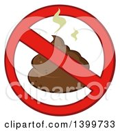 Clipart Of A Cartoon Stinky Pile Of Poop In A Prohibited Symbol Royalty Free Vector Illustration by Hit Toon