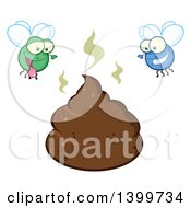 Clipart Of A Cartoon Stinky Pile Of Poop And Happy Flies Royalty Free Vector Illustration by Hit Toon
