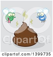 Clipart Of A Cartoon Stinky Pile Of Poop And Happy Flies On Gray Royalty Free Vector Illustration by Hit Toon