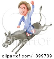 Clipart Of A Watercolor Caricature Of Hillary Clinton Riding A Democratic Donkey Royalty Free Vector Illustration